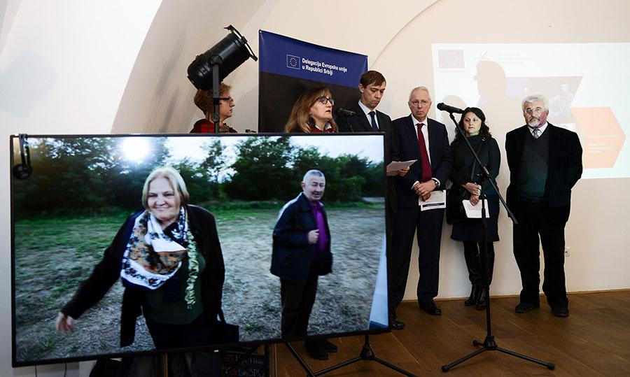 Deputy Head of the EU Delegation to Serbia Oskar Benedikt, CEB Governor Rolf Wenzel and Commissioner for Refugees Vladimir Cucic